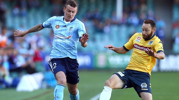 SYDNEY, AUSTRALIA - NOVEMBER 02: Sebastian Ryall of Sydney FC and Joshua Rose of the Mariners compete for the ball during the round four A-League match between Sydney FC and the Central Coast Mariners at Allianz Stadium on November 2, 2014 in Sydney, Australia. (Photo by Renee McKay/Getty Images)