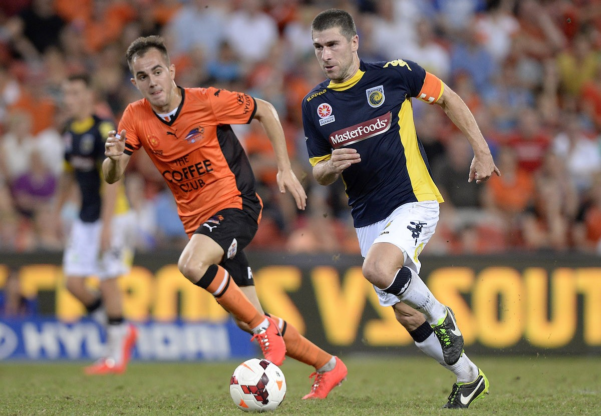 during the round 27 A-League match between Brisbane Roar and the Central Coast Mariners at Suncorp Stadium on April 12, 2014 in Brisbane, Australia.