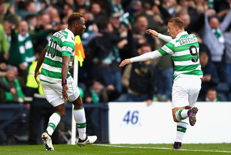 GLASGOW, SCOTLAND - OCTOBER 23: Moussa Dembele of Celtic celebrates scoring his sides first goal with Leigh Griffiths of Celtic during the Betfred Cup Semi Final match between Rangers and Celtic at Hampden Park on October 23, 2016 in Glasgow, Scotland. (Photo by Michael Steele/Getty Images)